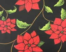 Christmas tablecloth, Black tablecloth with Christmas star flower