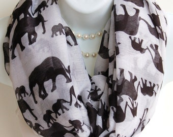 Elephant Print Infinity Scarf.Black and White Elephant Circle Scarf.Summer Infinity Scarves.Elephant Lover Gift.Summer Scarf.Animal Scarf.