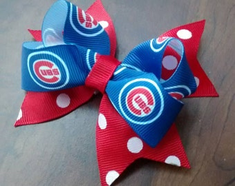 Chicago Cubs inspired hair bow