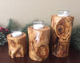 Set of 3 Aspen Log Wood Candle Holder - Table Centerpiece - Fireplace Mantel - Country Decor - Rustic Wedding Decor - Wedding Favors