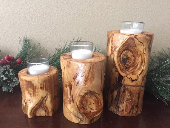 Set Of 3 Aspen Log Wood Candle Holder By Aspenrusticcreations