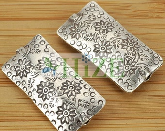 HIZE SB011 Thai Karen Hill Tribe Silver Flower Pillow Rectangle Focal Beads 37x17mm (2)