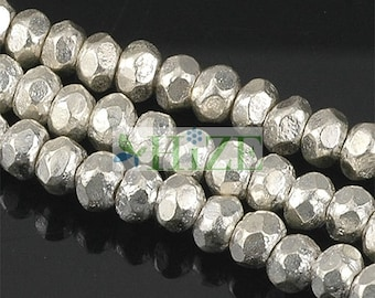HIZE SB036 Thai Karen Hill Tribe Silver Faceted Rondelle Spacer Beads 3mm (80)