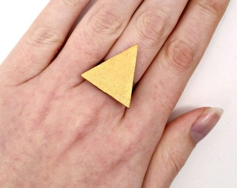 Gold wooden triangle ring - metallic - adjustable, summer gift guide, geometric jewellery, handmade in UK, fashion jewellery