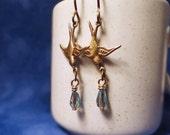 Brass Swallow earrings, Blue Bird earrings, Romantic earrings, Blue Czech glass bird earrings, Blue Czech glass & Bronze, Long earrings
