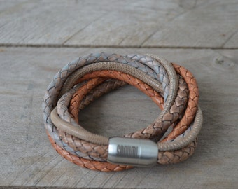 Leather Bracelet 'Bangkok' in brown with magetic clasp