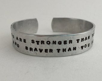 Strength and  Bravery Cuff/Motivational Quotes/Ladies Bracelet/Hand Stamped Jewelry/Courageous Quotes