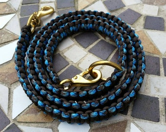 Paracord Dog Leash in Acid Brown / Blue