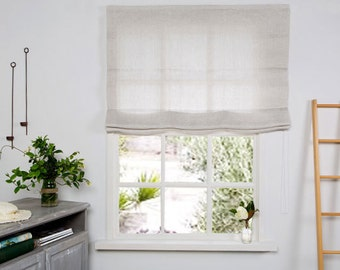 Linen Roman Blind in Beige color-Chevron weaving pattern-Hand made Linen Roman Shades - Made to Measure Roman Blind- Custom Roman Shade.