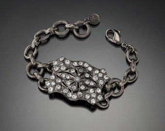 Vintage Buckle Bracelet, Gunmetal Buckle Bracelet