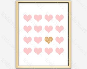 Nursery blush pink wall art Girl blush pink art Blush and gold art Blush pink poster Blush pink print art Blush pink printables Nursery