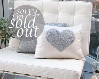 Silver Sequin Heart Cushion