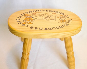 """Kids Wooden Stool With Elves, Letters, And Numbers-""""This Little Stool Is Mine..""""-Child Size Stepping Stool"""