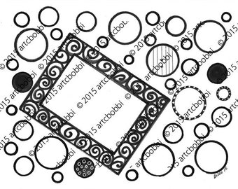 Download and Color – Black and White Marker Art with space for your own photo (#306)