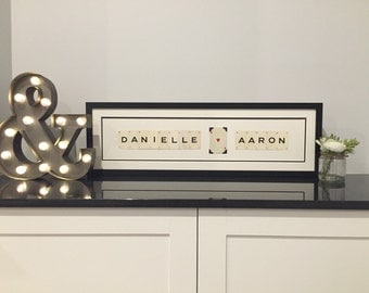 Personalised couples name love frame made with vintage playing cards. Any word or name.  Wedding, Anniversary , Birthday gift