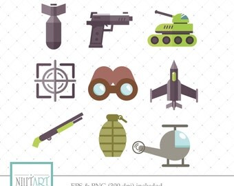 Army  icons clip art, Army clipart, vector graphics, the military clipart, digital images -  CL 128