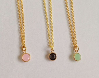 Handmade Golden Minimalistic Necklace with a Subtle, Adorable Facet Charm