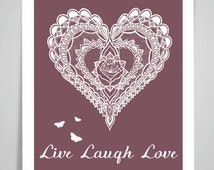 MANDALA HEART Live Laugh Love Art Print/Poster Wall Art Print Home Decor Valentines's Gift Framed or Print only free UK postage