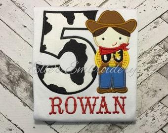 Cowboy birthday shirt/ embroidered cowboy shirt/ personalized cowboy shirt