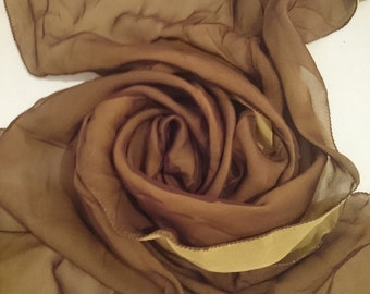 YELLOW/BROWN Rare 100% Silk Chiffon Scarf - Doubles (2 Different Colours Hand Sewn Together) Unused and Perfect From 1970s Stock