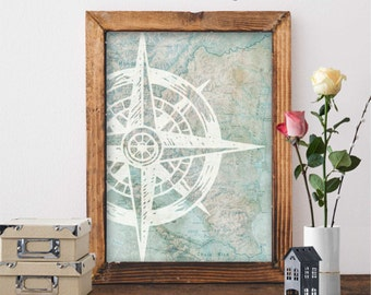 Printable Wall Art, Nautical Map Art, Nautical Poster, Nautical Print, Compass Print, Sailing Print . 8x10, A4(29.7x21cm)