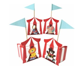 Circus Tent Red/White Party Favor Boxes, Circus Party, First birthday party, Circus birthday, Elephant curcus, Clown Circus birthday