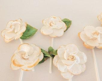 Handmade White Flower Cupcake/Cake Toppers