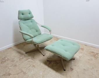 Vintage Mid century Metal Wire Lounge Chair Ottoman Patio Sun Room Porch