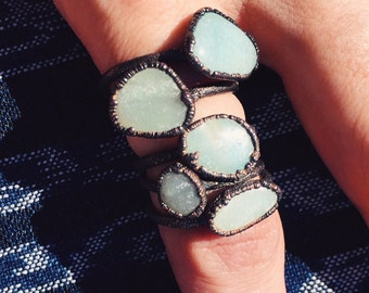"Azumar ring - ""Oasis"" copper electroformed azumar stacking ring - light blue stone ring - round blue mint sky blue rock"