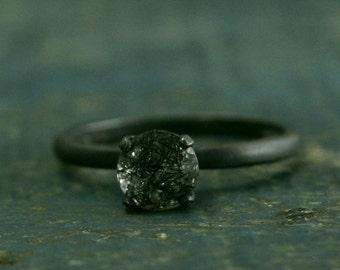 Flat Black Engagement Ring--Oxidized Black Ring--Rutilated Quartz Engagement Ring--Black Stone Ring--Dark Stone Engagement--Simple Black