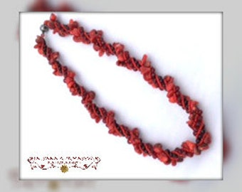 BAMBOO CORAL handmade beaded necklace, red coral chips