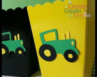 10 Tractor Themed Snack/Favor Boxes