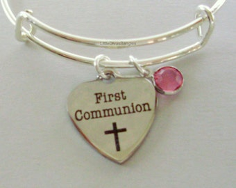 GIRLS First Communion Heart BANGLE -  Adjustable Bangle W/ Swarovski Birthstone Crystal Drop - Religious Charm - Girls Gift