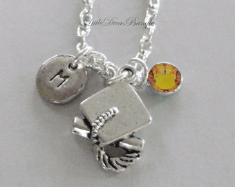Graduation Charm Necklace  W/ Swarovski Birthstone  Silver INITIAL Graduation Necklace High School / College Gift  For Her / NK1
