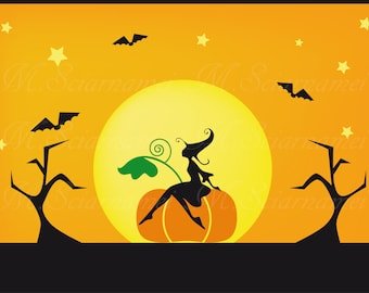 Halloween-Witch-Clipart- Silhouette-Instant Download-Printable-Moon-Night-Wall decor-Scrapbooking-Digital-Black cat