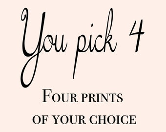 Four combined prints, You Pick 4, Gold Foil prints Home Decor