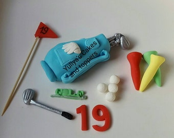 Edible golf cake/cupcakes topper,game,hobby,bag,pins,club,birthday