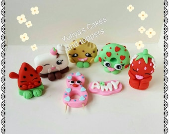 Edible shopkins cake/cupcakes toppers,handmade decoration ,birthday