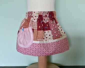 Girls Toddler Elasticated skirt 1 Year Old Patchwork Fabric