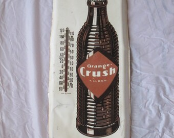 "Vintage c. 1940 Orange Crush Soda Pop 19""  metal thermometer sign-original"