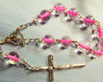 Pink LIned Glass Rosary, Finger Rosary