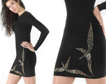 Bodycon dress / Handmade Dress / Embroidery Dress / Short Dress / Long Sleeves Dress / Dress with Beads and Sequins