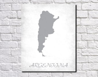 Argentina Map Print Map of Argentina Country Map Poster Argentinian Gift Home Decor Wall Art