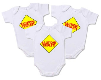 "Triplet Onesies - Set of 3 ""Caution!  Triplets"" Onesies for Triplets"