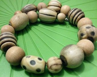 Handmade Wooden Natural Beaded Patterned Bracelet Memory Wire