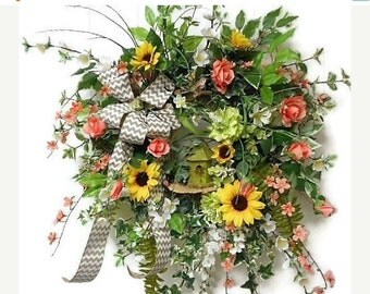On Sale Sunflowers and Roses Birch Wreath