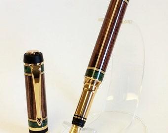 Handmade Wood Fountain Pen, Kingwoodwith Clear and Green Box Elder Burl