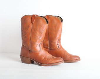 Vintage Size 6 Women's Brown Leather Cowboy Boots