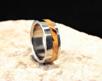 Spalted Tamarind wood inlay and Titanium ring, Spalted wood ring, wood inlay ring, metal and wood ring,wedding ring, wedding band