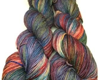 Hand Dyed DK Weight Yarn, Merino/Nylon Blend_It Was a Dark & Stormy Night